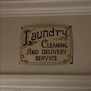 """NWT Metal """"Laundry..."""" Wall Hanging"""